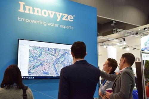 photo of Innovyze software displayed at exhibition booth