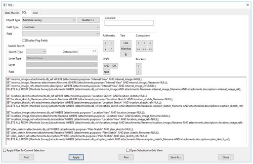 Screenshot from InfoAsset showing the SQL commands required